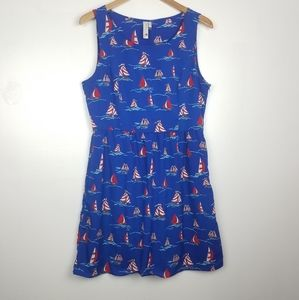 Pink Owl | Boat Print Sleeveless Dress Blue Red